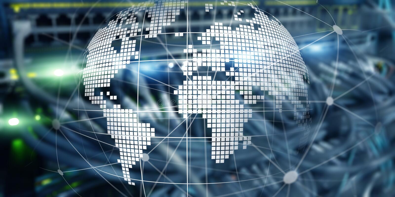 Futuristisches modernes Rechenzentrum mit ganz eigenh?ndig geschrieber Technologie-Fahne Erde des Planeten 3d Telekommunikationsi stockfotos