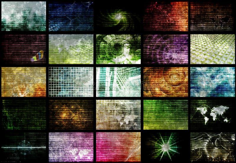 Futuristisches Netz-Energie-Daten-Rasterfeld stock abbildung