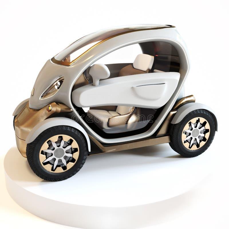 Futuristisches persönliches Konzeptauto auf Anzeige mit einem weißen Hintergrund lizenzfreie abbildung