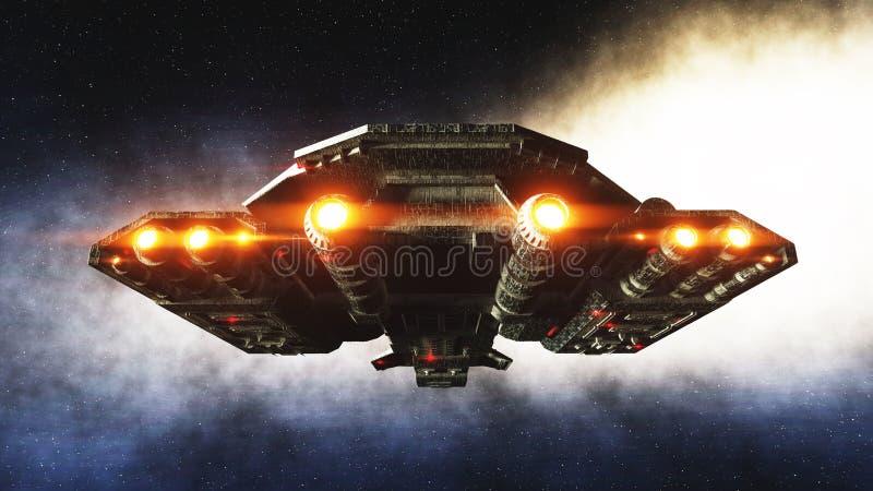 Futuristisches Raumschiff herein Erdplanet wonderfull Ansicht Realistische Metalloberfläche Wiedergabe 3d stock abbildung