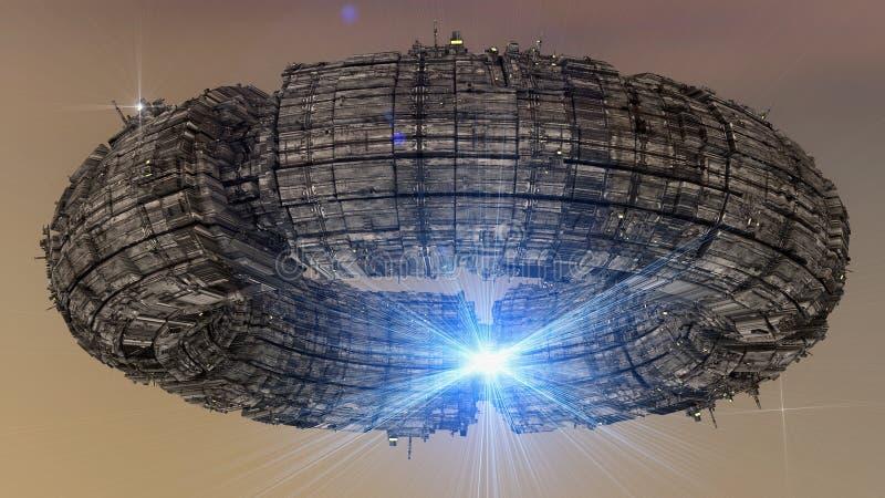 Futuristisches Raumschiff UFO stock abbildung