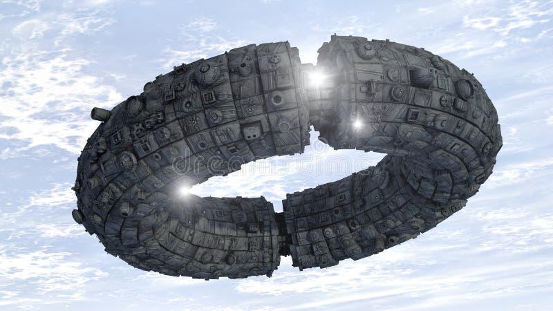 Futuristisches Raumschiff UFO lizenzfreie abbildung