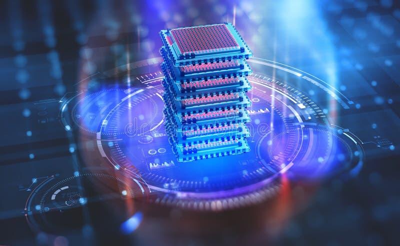 Futuristisches Rechenzentrum Big Data-Analyticsplattform Quantums-Prozessor im globalen Computernetzwerk vektor abbildung