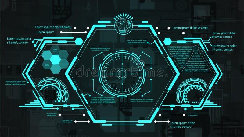 Futuristisches Schnittstelle hud Design Vektorabbildung f?r Ihr design Telefon mit Planetenerde und bin?rem Code stockfoto