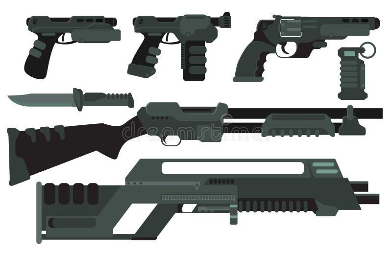 Futuristisches Sciencefictions-Angriffs-Strahln-Gewehr und Pistole lizenzfreie abbildung