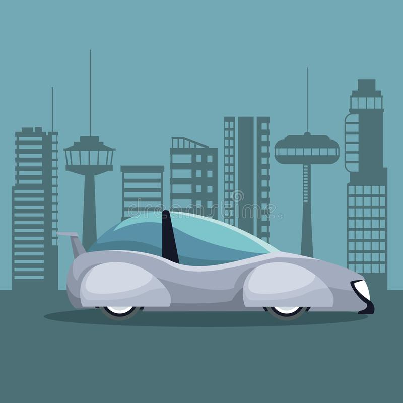 Futuristisches Stadtlandschaftsschattenbild mit buntem weißem modernem Autofahrzeug lizenzfreie abbildung