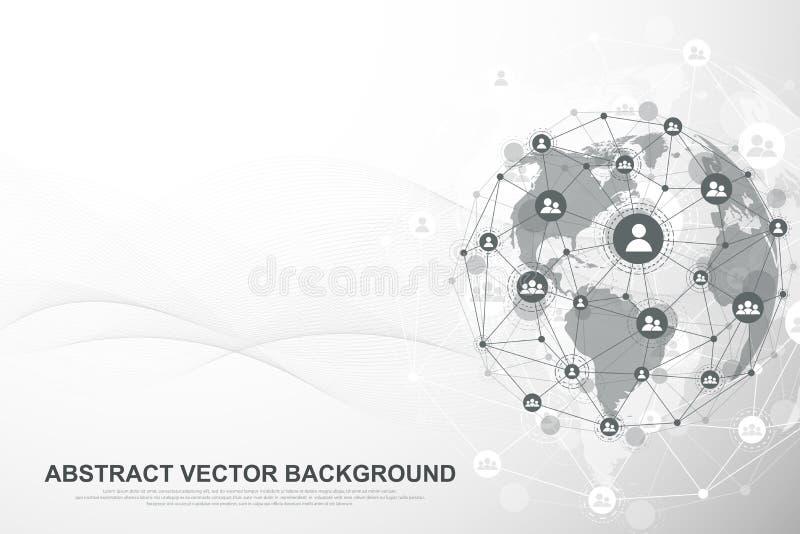 Futuristisk abstrakt bakgrundsblockchainteknologi Global internetnätverksanslutning Jämlike som plirar nätverksaffär royaltyfri illustrationer