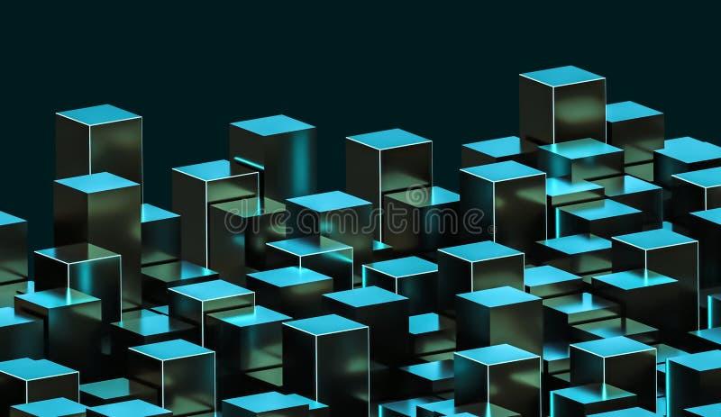 Futuristisk abstrakt grön och cyan metallisk glödande cuboidsillustration Konstruktion stad, arkitektur, databegrepp 3d royaltyfri illustrationer