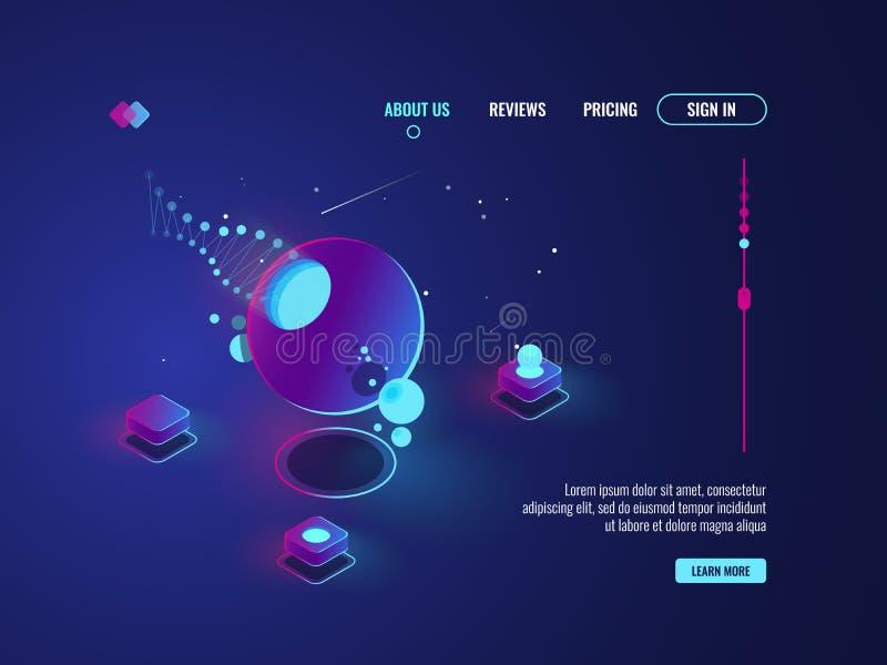 Futuristisk abstrakt konst, rymdskepp, planet, serverrum, data - bearbeta, vektor för molnlagringsbegrepp stock illustrationer