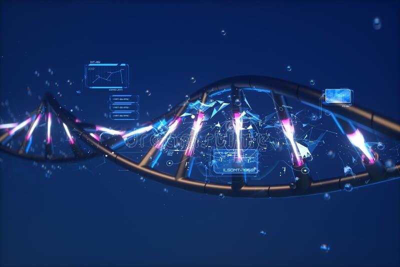 futuristisk abstraktion 3D av DNA:t fotografering för bildbyråer