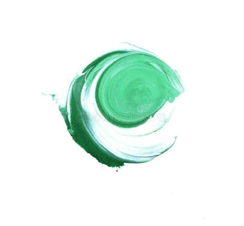 Futuristisk abstraktion på en vit bakgrund Akrylmodell i form av en cirkel av grön färg royaltyfri foto
