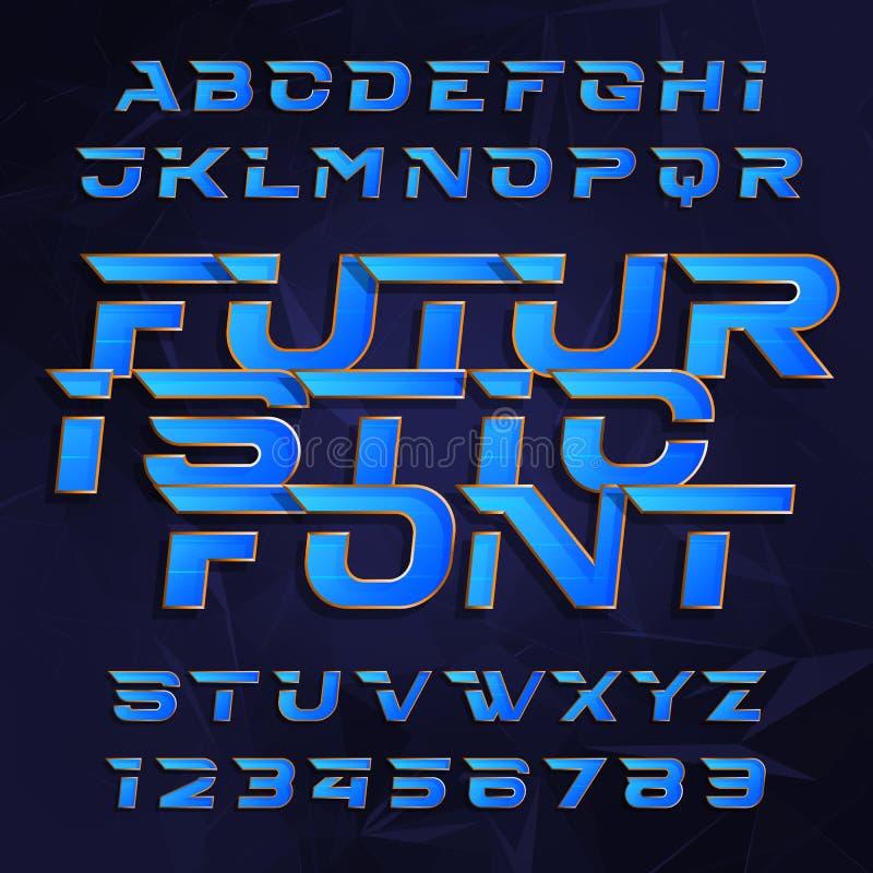 Futuristisk alfabetvektorstilsort Effekttypbokstäver och nummer på en polygonal bakgrund royaltyfri illustrationer