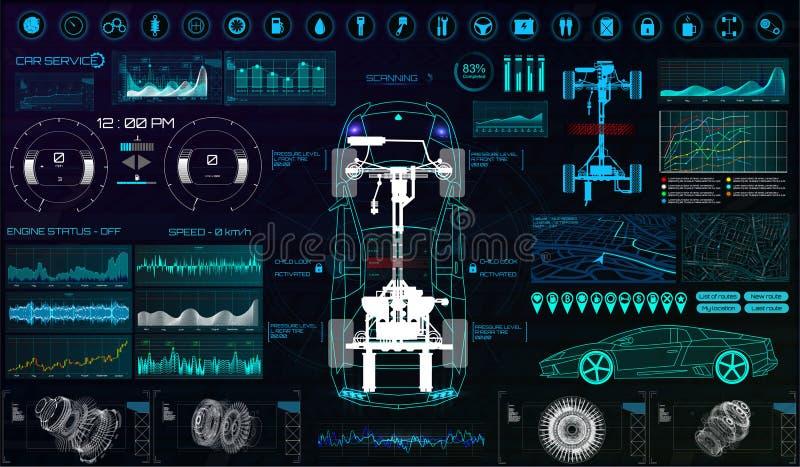 Futuristisk användargränssnitt Bil tjänste- HUD royaltyfri illustrationer