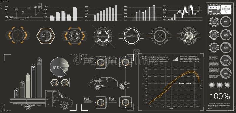 Futuristisk användargränssnitt HUD UI Abstrakt faktisk grafisk handlaganvändargränssnitt Infographic bilar Vektorvetenskapsabstra vektor illustrationer