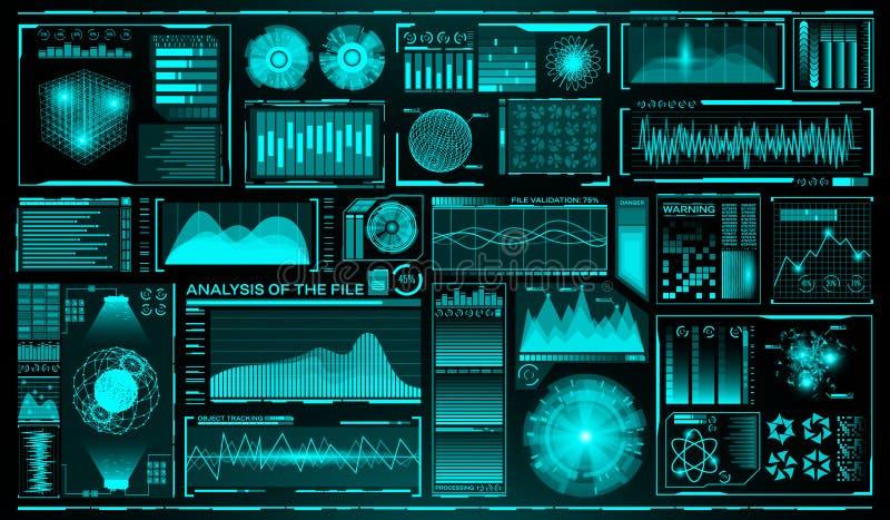 Futuristisk användargränssnittuppsättning HUD Framtida infographic beståndsdelar Teknologi- och vetenskapstema Analyssystem scann vektor illustrationer