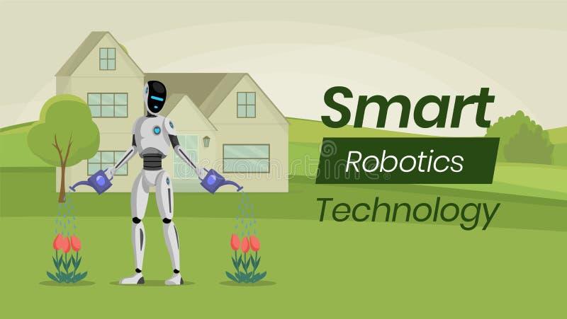 Futuristisk arbeta i trädgården plan banervektormall Humanoid robot, mekaniskt trädgårdsmästaretecken Smart hushållhjälpreda royaltyfri illustrationer
