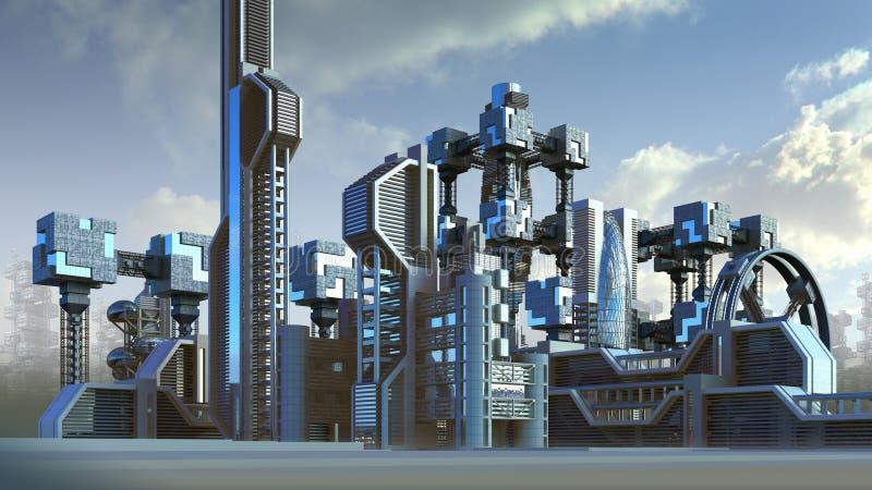 Futuristisk arkitektur av en stadshorisont vektor illustrationer