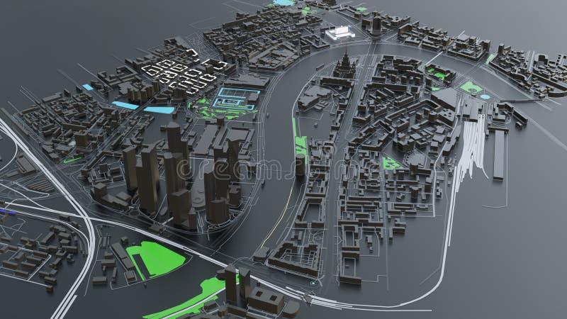 futuristisk arkitektur för stad 3D vektor illustrationer