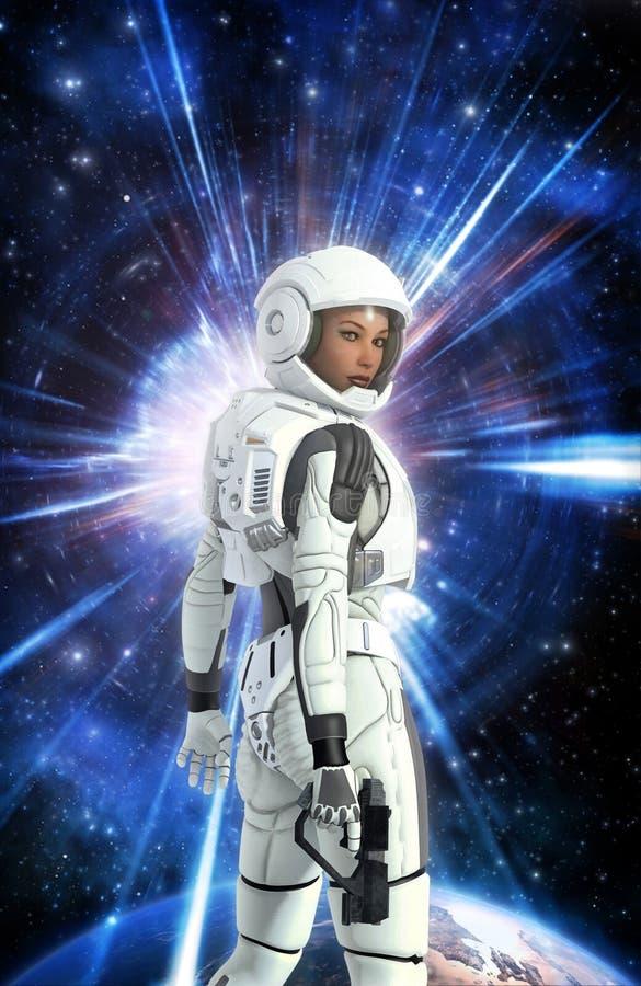 Futuristisk astronautflicka i utrymmedräkt och planet stock illustrationer