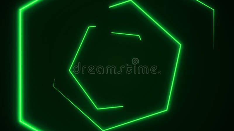 Futuristisk bakgrund för HUD sexhörningstunnel VJ rörelsediagram för neon 4K för LED royaltyfri illustrationer