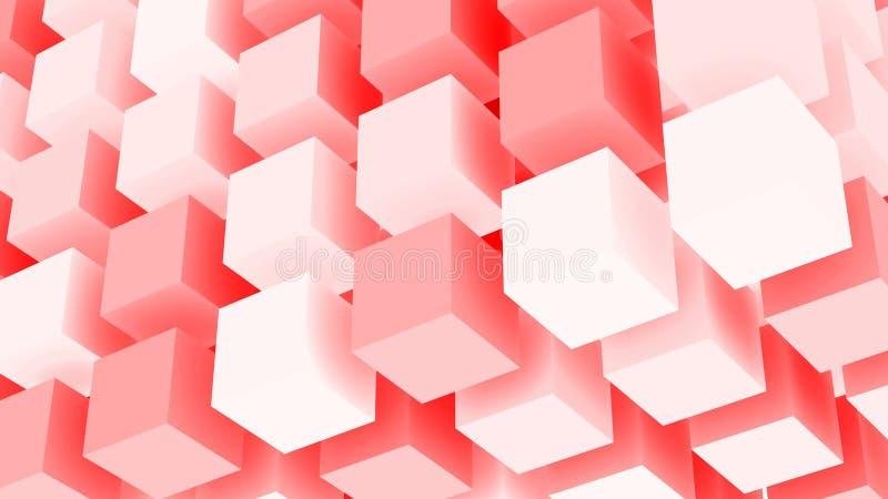 Futuristisk bakgrund för röda kuber stock illustrationer