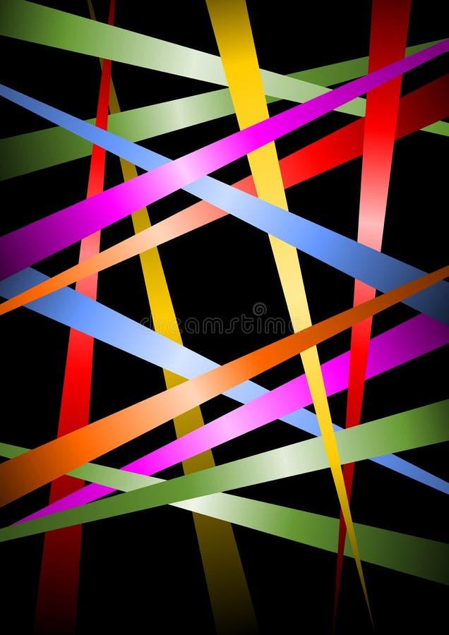 Futuristisk bakgrund, mångfärgade remsor med lutning på svart bakcground, vektormall som är användbar som räkningen, futuristisk  royaltyfri illustrationer