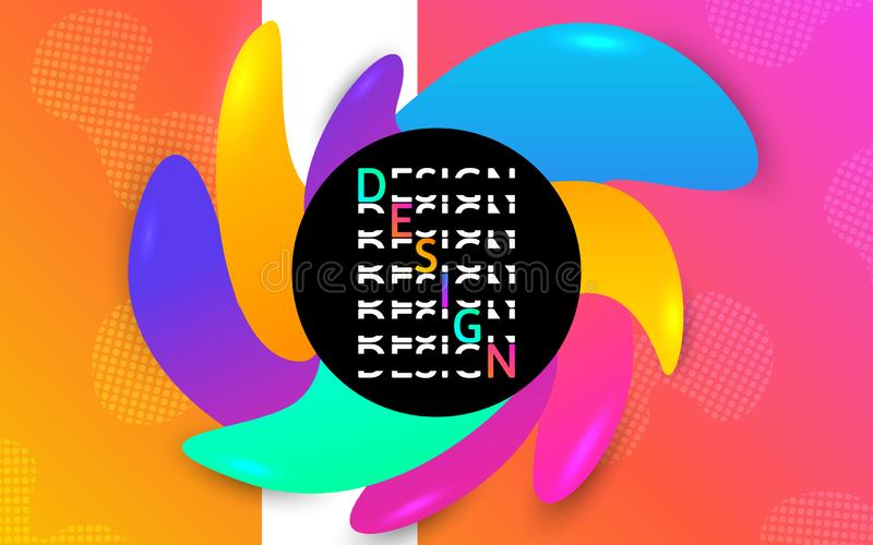 Futuristisk banermall Färgformer Vätskelutningbeståndsdelar Idérik affisch med vätskedesign växt för effekt 3d… leaves för green vektor illustrationer