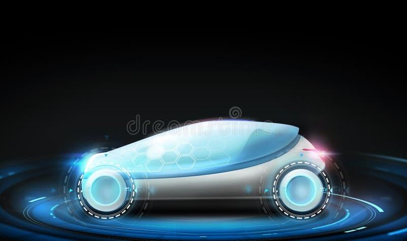 Futuristisk begreppsbil över svart bakgrund royaltyfri illustrationer