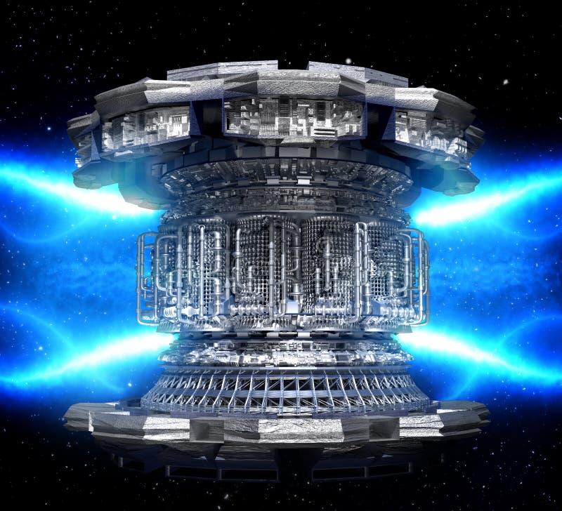Futuristisk begreppsenergi Termonukleär begreppsmässig tekniskt avancerad kraftverk arkivbilder