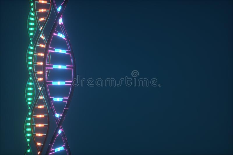 Futuristisk bild 3D av DNA:t vetenskaplig forskning vektor illustrationer