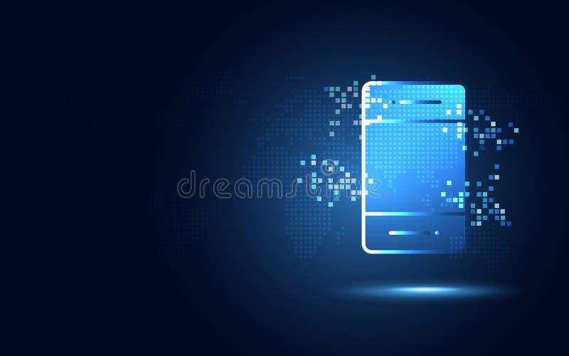 Futuristisk blå smartphone med abstrakt teknologibakgrund för PIXEL Digital omformning för konstgjord intelligens och stora data vektor illustrationer