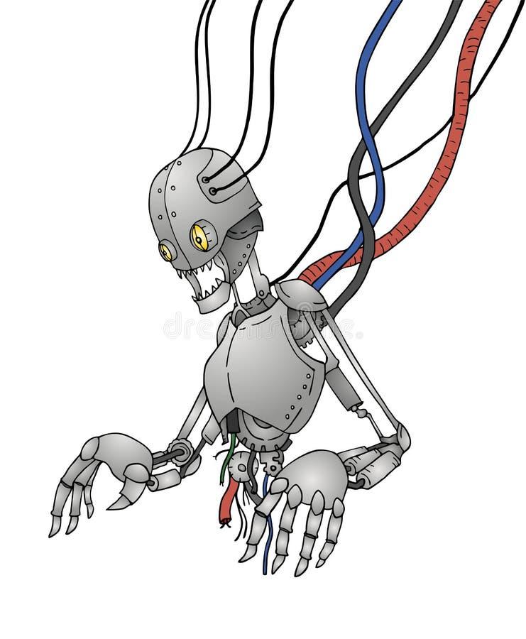 Futuristisk bruten robot royaltyfri illustrationer