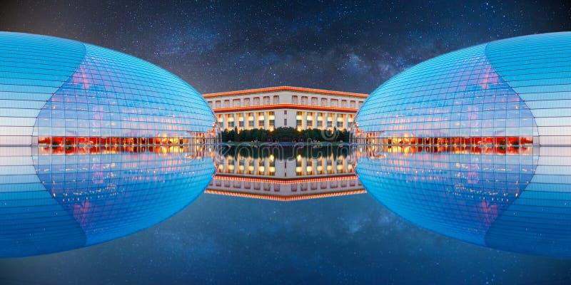 Futuristisk byggnad och stjärnklar himmel