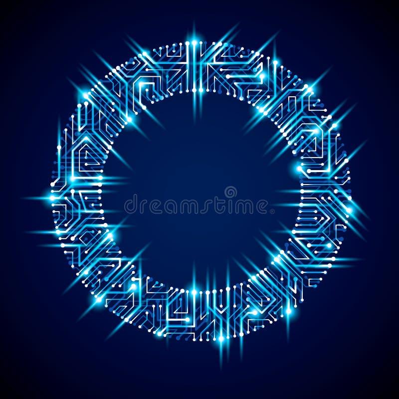 Futuristisk cybernetic intrig, illustrati för vektormoderkortblått royaltyfri illustrationer