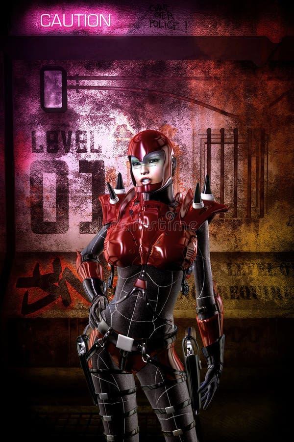 Futuristisk cyberpunksoldatflicka royaltyfri illustrationer