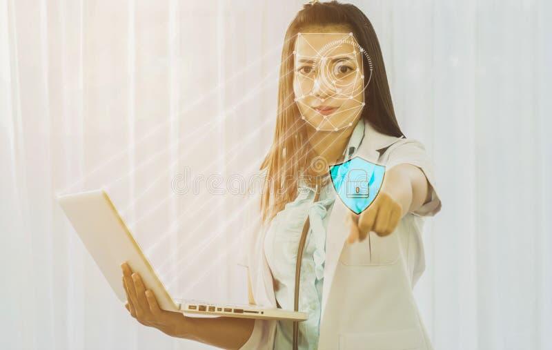 Futuristisk cybersäkerhet med ansikts- erkännande av doktorn till a fotografering för bildbyråer