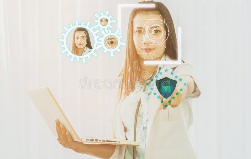 Futuristisk cybersäkerhet med ansikts- erkännande av doktorn till a royaltyfria foton