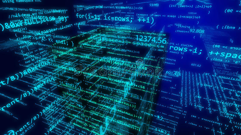 Futuristisk cyberspace med flygljus - blå siffra stock illustrationer