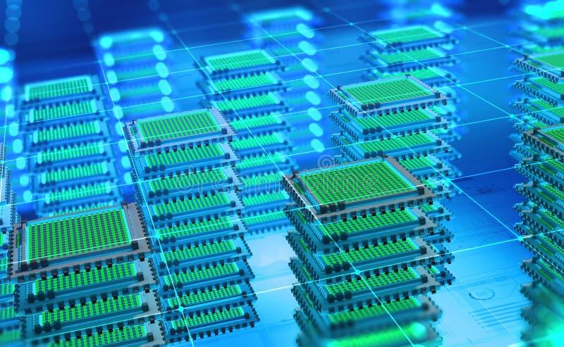 Futuristisk datorhall Big Data analyticsplattform Kvantprocessor i det globala datornätet royaltyfri bild
