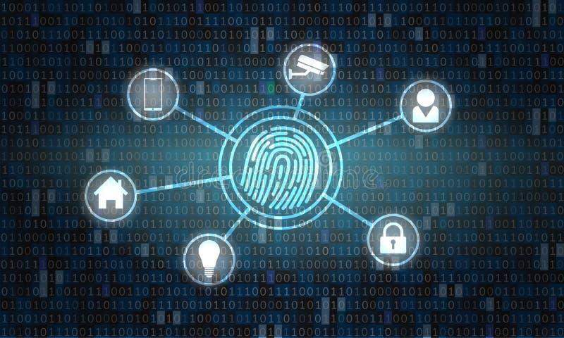 Futuristisk datormanöverenhet med abstrakt binär kod för fingeravtryckbildläsare Innovation- och biometricsbegrepp stock illustrationer