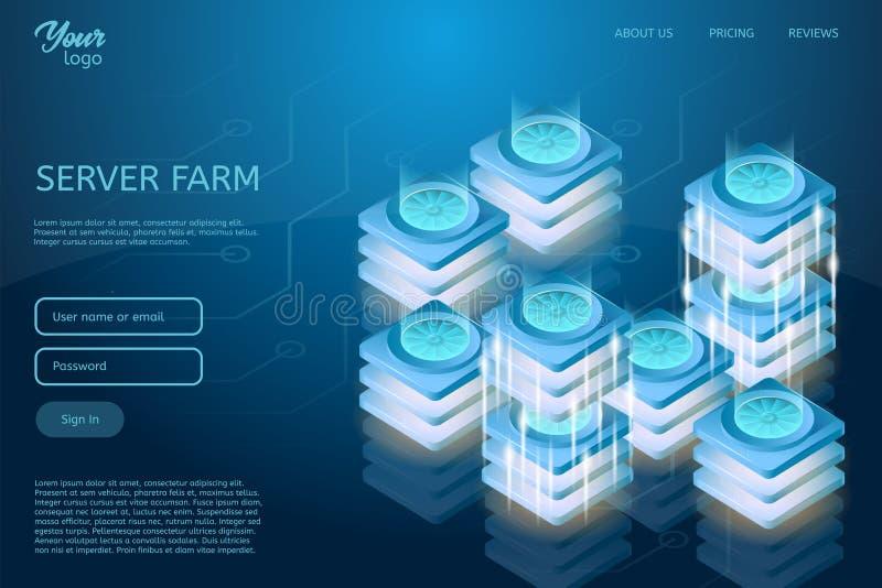 Futuristisk design av att vara värd för rengöringsduk och den isometriska vektorillustrationen för datorhall Begrepp av serverrum stock illustrationer