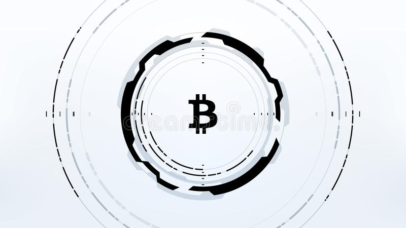 Futuristisk design för Bitcoin Cryptocurrency vektorillustration stock illustrationer