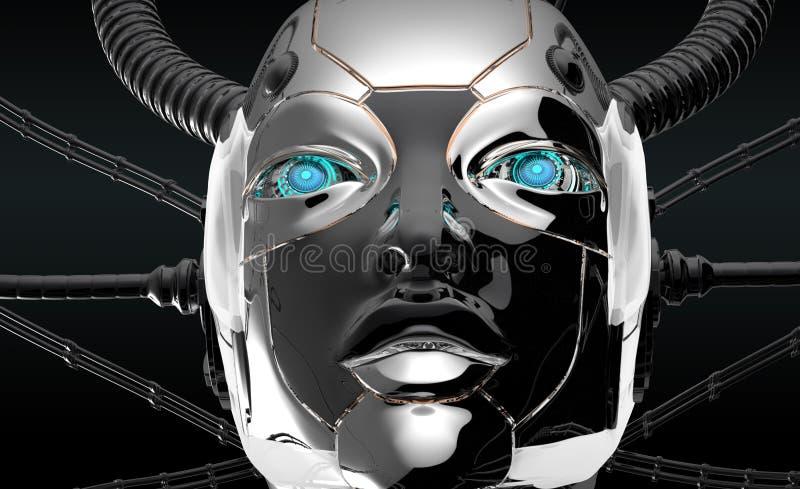 Futuristisk design för kvinnlig robotframsida royaltyfri illustrationer
