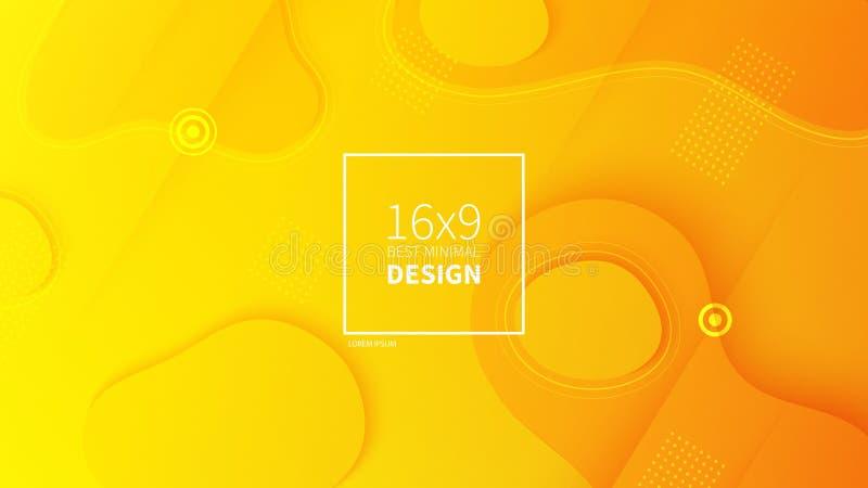 Futuristisk designgulingbakgrund Mallar för plakat, baner, reklamblad, presentationer och rapporter Minsta geometriska, royaltyfri illustrationer
