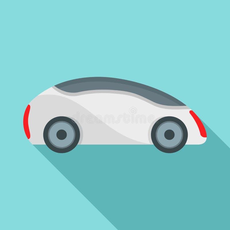 Futuristisk driverless bilsymbol, plan stil royaltyfri illustrationer