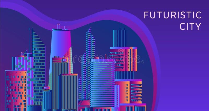 Futuristisk, energiteknologi och abstrakt begrepp för cityscapevektor Bild av ljusa strålar, bandlinjer med blått och royaltyfri illustrationer