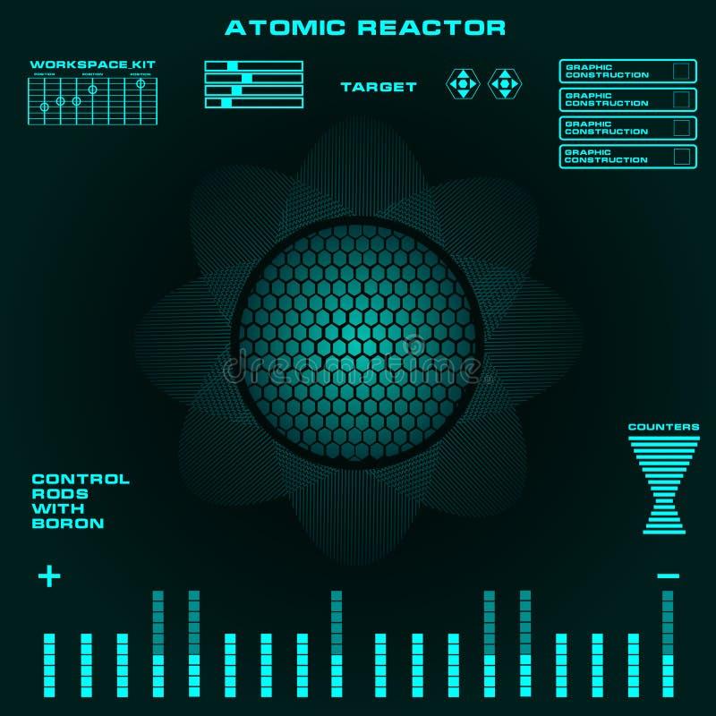 Futuristisk faktisk grafisk handlaganvändargränssnitt för atomreaktor stock illustrationer