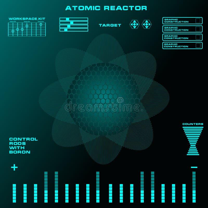 Futuristisk faktisk grafisk handlaganvändargränssnitt för atomreaktor royaltyfri illustrationer