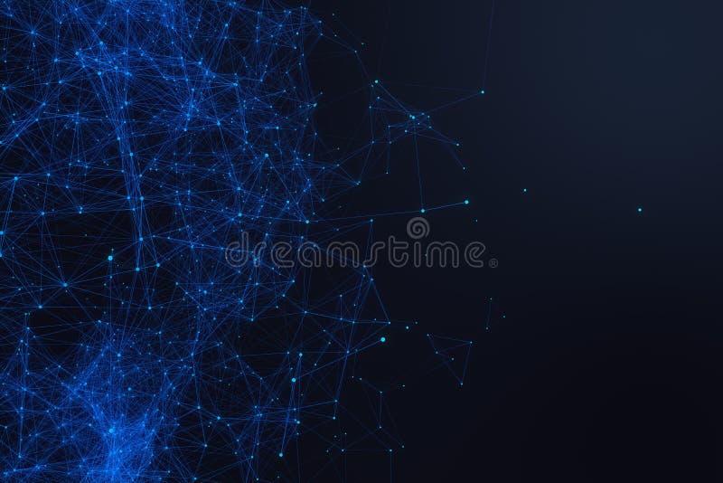 Futuristisk form för teknologisk anslutning, blåttpricknätverk, abstrakt bakgrund, blå bakgrund, begrepp av nätverket vektor illustrationer
