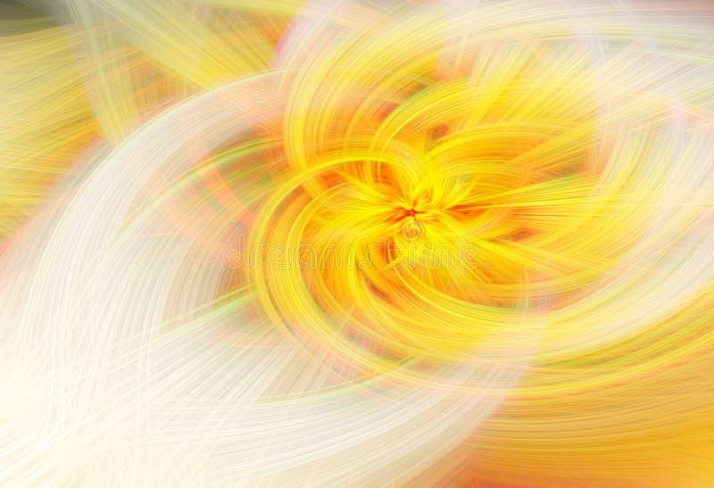 Futuristisk fractalvärldsillustration Gul f?rg vektor illustrationer